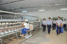 Union Minister Dr Charlie Than inspects cotton ginning, textile factories in Mandalay