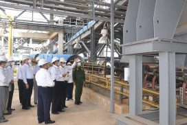 Union Minister for Industry on inspection tour of No (2) steel plant (Pinpet) in Taunggyi