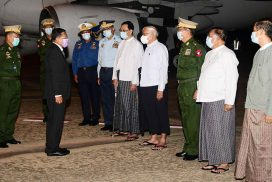 Chairman of the State Administration Council Commander-in-Chief of Defence Services Senior General Min Aung Hlaing and party arrive back from Russian Federation