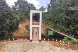 Completed Htakha suspension bridge ready to give transport service to local people in Machanbaw Tsp