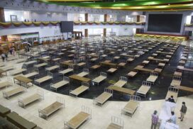 1,500 beds being prepared for COVID-19 patients at Mani Yadana Jade Hall in Nay Pyi Taw