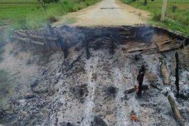 Terrorists destroy bridge in Naung Po Aung village in Homalin