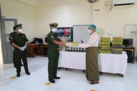 Tatmadaw provides COVID-19 disease prevention supplies, oxygen tanks