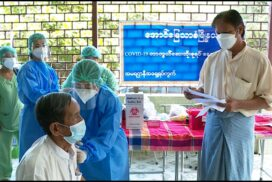 People over 65 receive second dose of COVID-19 vaccine in Aungmyaythazan Township