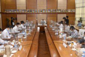 Union Minister U Maung Maung Ohn meets Information staff,inspects MRTV
