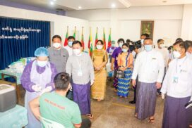 MoL Union Minister attends opening ceremony of Social Security Board Care Well General Clinic, inspects vaccination process of factory workers in Dagon Myothit (Seikkan) Township