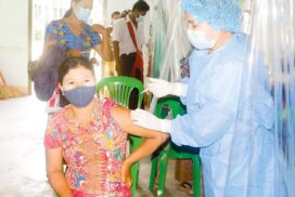 Over 40-year-olds get COVID jabs in Tatkon Township, Nay Pyi Taw