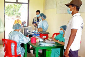 45-year-old and above get first shots in Pantawpyin Village of Maungtaw Township