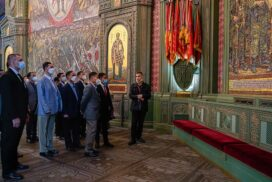 State Administration Council Vice-Chairman Vice-Senior General Soe Win and party visit Main Cathedral of the Russian Armed Forces of the Russian Federation