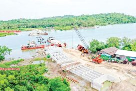 Chaungwa bridge project, connecting Ayeyawady Region and Rakhine State, completed by 45%