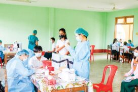 Above 12-year-old students receive COVID-19 vaccines in Nay Pyi Taw