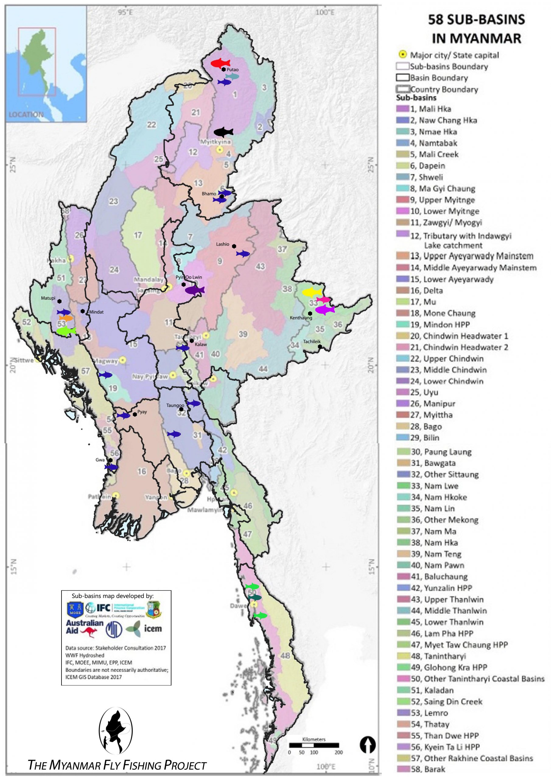 Mahseer Species Distribution across Myanmar