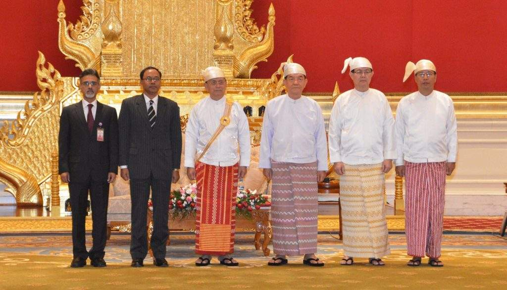 President  U Thein Sein with Mr Mohammad Sufiur Rahman, the newly-accredited Ambassador of the People's Republic of Bangladesh.