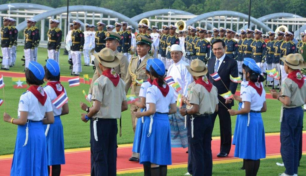 President U Thein Sein gives red carpet treatment to Thai Prime Minister Mr Prayuth Chan-o-cha at welcoming ceremony in Nay Pyi Taw.