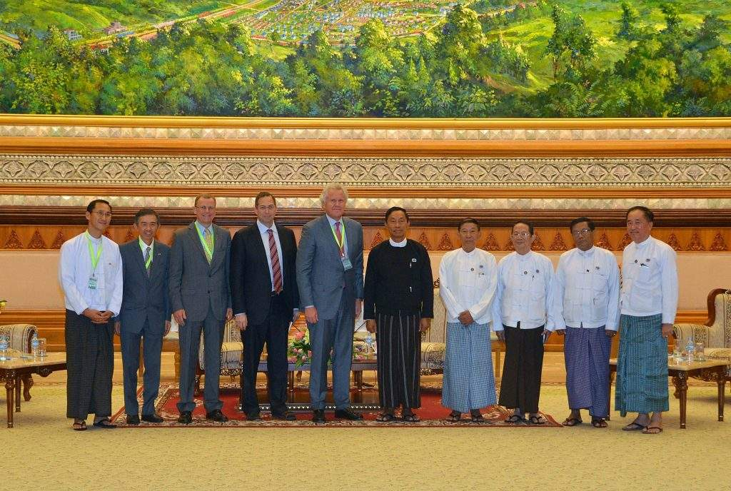 Speaker Thura U Shwe Mann with President and CEO Mr Jeffery Immelt of GE Company of the US after holding talks.—MNA