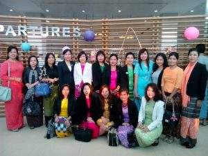 Joint Secretary-2 Daw Cho Thiri Maung of Myanmar Women Entrepreneurs' Association and party at Yangon International Airport on their departure on 14 October to attend Thai Myanmar Trade Fair 2014 from 15 to 19 October in Bangkok of Thailand.—MNA