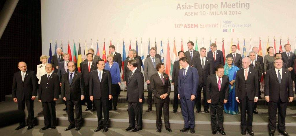 President U Thein Sein with leaders of Asian and European countries at 10th Asia-Europe Meeting in Milan.