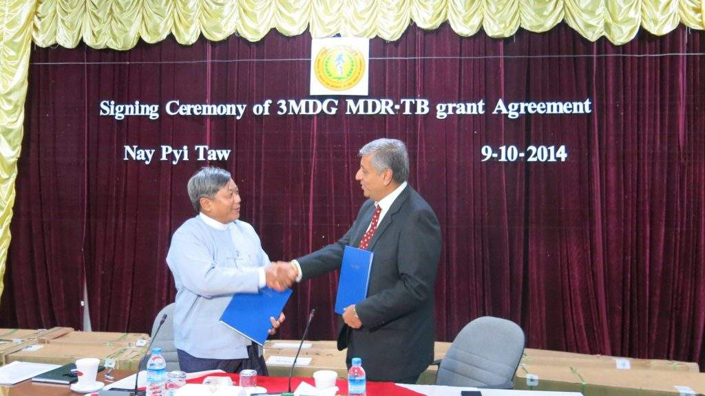 Officials of Ministry of Health and 3MDG at exchanging notes for US$11.5 million agreement. Photo: 3MDG