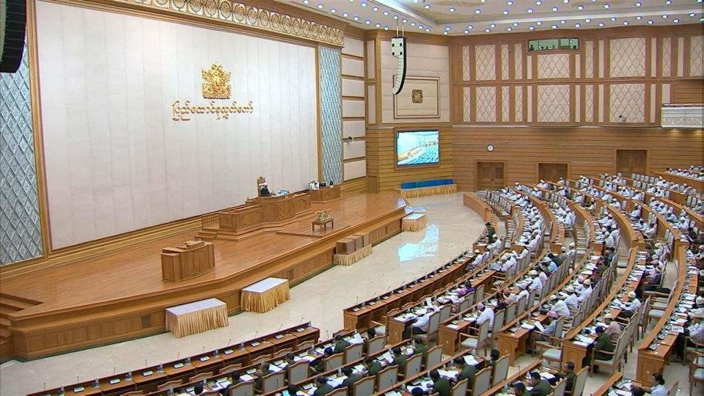 Pyidaungsu Hluttaw representatives participate in debate on constitutional amendment in Friday's session.—mna
