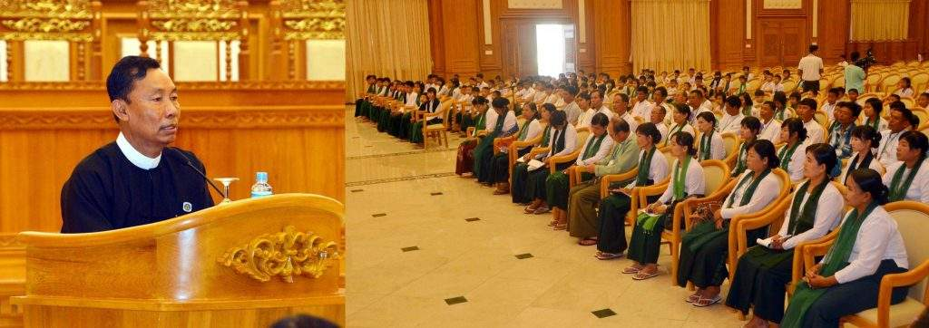 Speaker Thura U Shwe Mann meets students and teachers of Kanyutkwin town, Pyu Township at the hall of Hluttaw Complex.—mna
