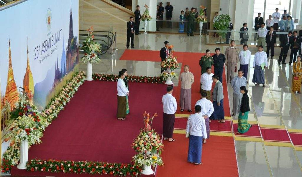 President  U Thein Sein views round dress rehearsal for the 25th ASEAN Summit at Myanmar International  Convention Centre-I in Nay Pyi Taw.—mna