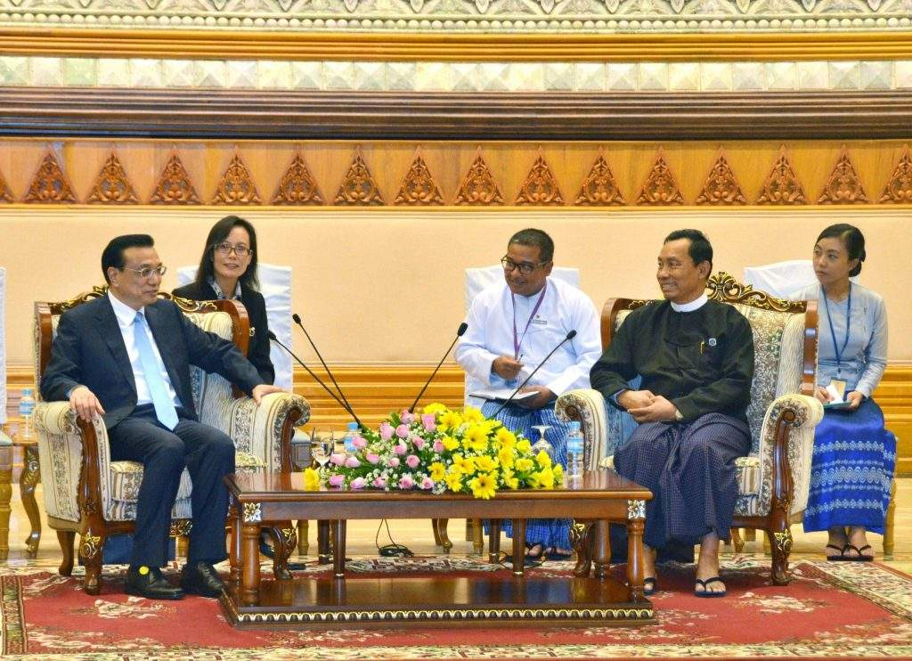 Speaker Thura U Shwe Mann holds talks with Premier of the State Council Mr Li Keqiang