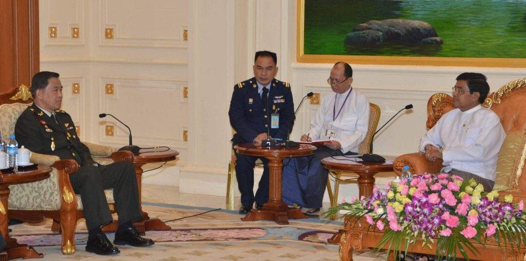 Vice President U Nyan Tun receives Chief of Defence Forces General Worapong Sanganetra of the Royal Thai Armed Forces.