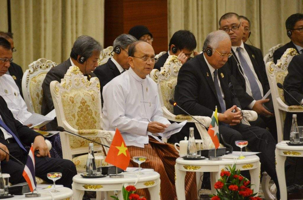 President U Thein Sein delivers address at the ASEAN Business Advisory  Council Meeting.