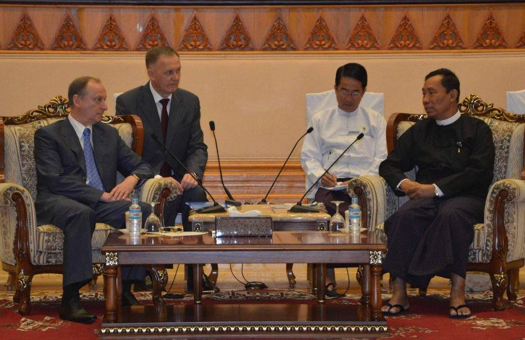 Speaker Thura U Shwe Mann holds talks with Secretary of the Security Council of the Russian Federation Mr Nikolay P Patrushev.—mna