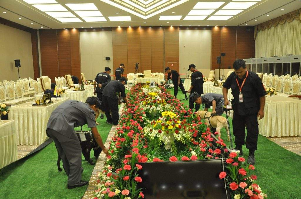 Security personnel checking venues for hosting ASEAN Summit and related meetings at MICC-1 in Nay Pyi Taw.—mna