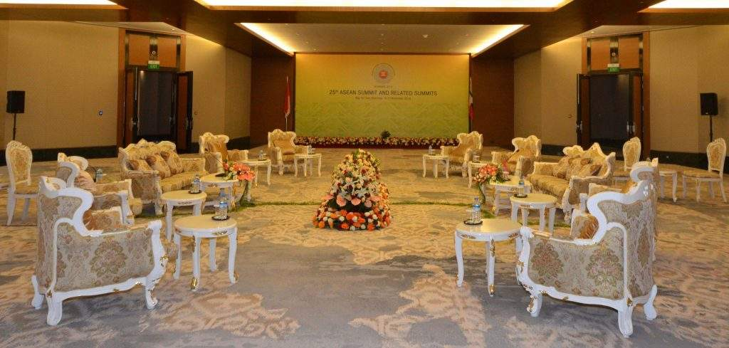 Preparations have been made at a hall where 25th ASEAN Summit and related summit will be held in Nay Pyi Taw.—mna