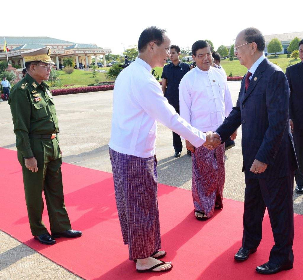 President U Thein Sein being seen off by Vice Presidents Dr Sai Mauk Kham and U Nyan Tun and Commander-in-Chief of Defence Services Senior General Min Aung Hlaing at Nay Pyi Taw Airport on his departure for Australia.