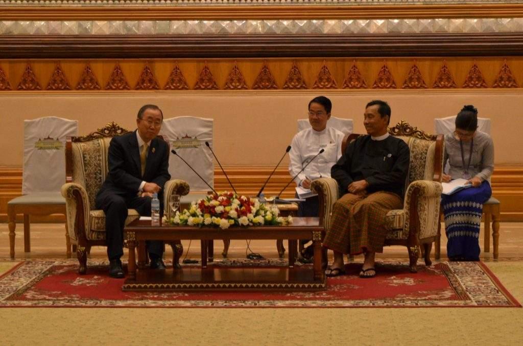 Pyidaungsu Hluttaw and Pyithu Hluttaw Speaker Thura U Shwe Mann holds talks with UN Secretary-General Mr Ban Ki-moon.