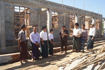 New school building under construction in rural area of Thaton Tsp