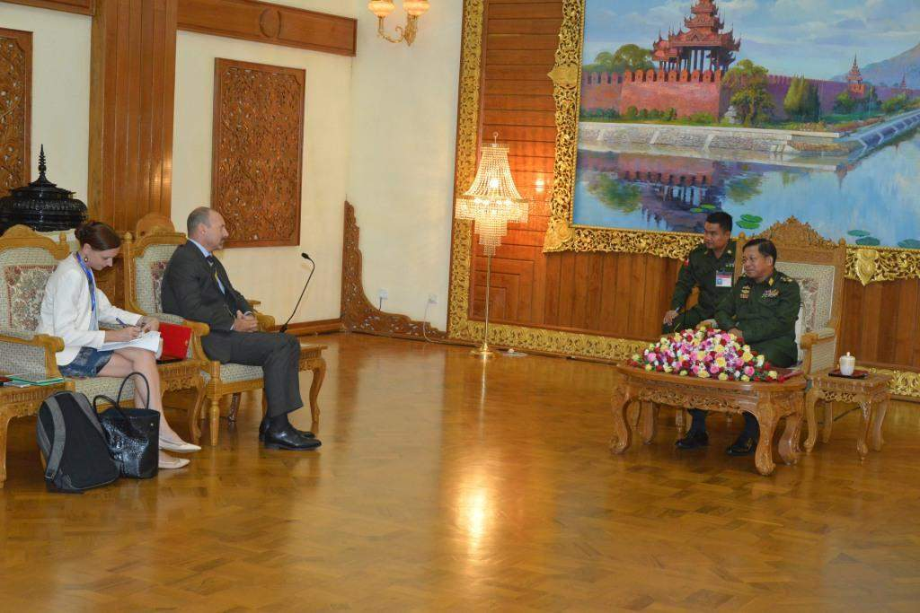 Commander-in-Chief of Defence Services  Senior General Min Aung Hlaing receives  Ambassador of the European Union Office  Mr Roland Kobia.