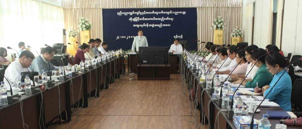 Union Minister U Tin Naing Thein and Union Minister Dr Ko Ko Oo explain opening of more vocational schools.—mna