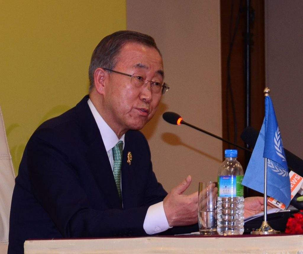 Mr Ban Ki-moon, the Secretary-General of the United Nations, talks to reporters at press conference in Nay Pyi Taw on Wednesday. Photo: mna