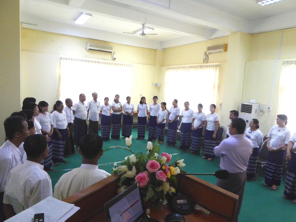 15th batch of staff of SME development branches for  training.—Photo: Khaing Thanda Lwin