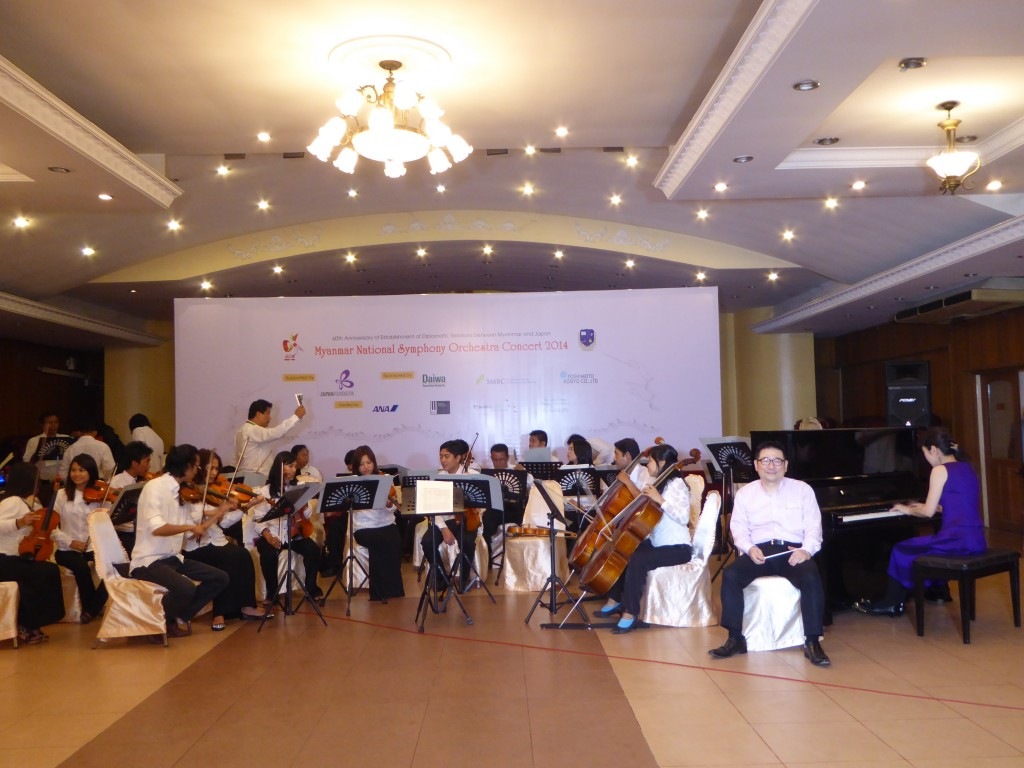Tow Japanese professionals and members of Myanmar National Symphony Orchestra.—Photo: Khaing Thanda Lwin