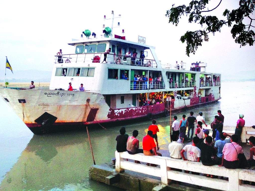 Danyawady 3 vessel carrying passengers and commodities from Sittway of Rakhine State arrives at Buthidaung Port. People in various faiths live in Buthidaung Township peacefully and they are engaged in agriculture, livestock breeding, trade and odd-job for their livelihoods.—Photo: Zeyar (Mirror)