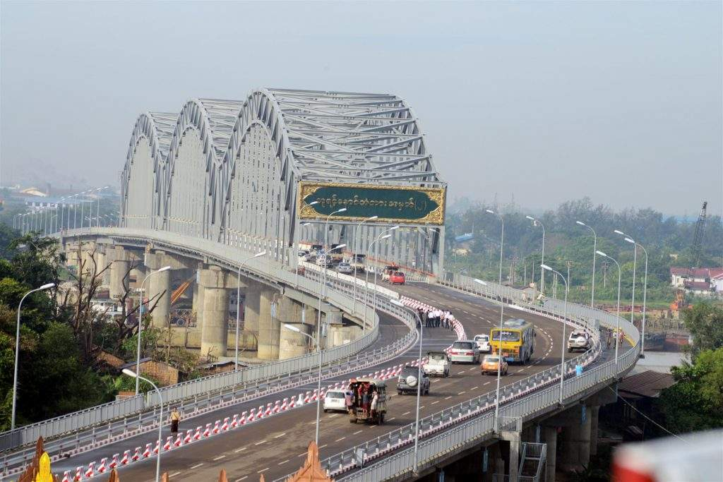 People enjoy smooth traffic as Nayintnaung Bridge No. 2 opens  to traffic.  Photo: Saw Thein Win