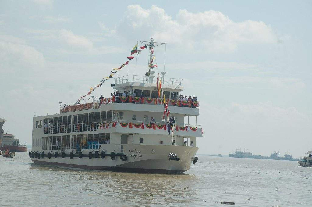 Cherry (1) donated by Japan seen in Yangon River.