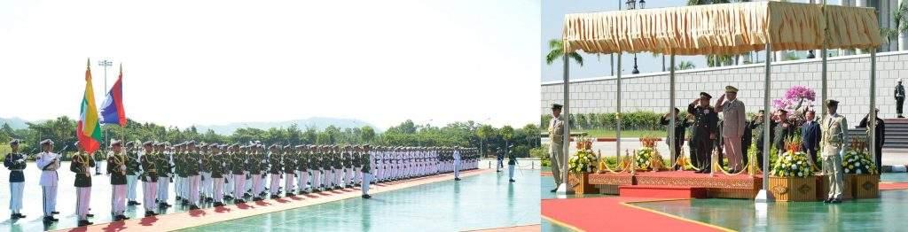 Senior General Min Aung Hlaing and Laotian Defence Minister Lieutenant General Sengnuan Saiyalath take salute of the  Guard of Honour.—Myawady