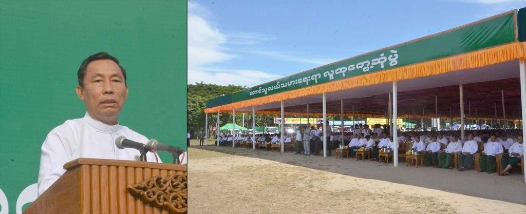 Speaker of Pyidaungsu Hluttaw and Pyithu Hluttaw Thura U Shwe Mann meets local farmers from Ayeyawady Region.