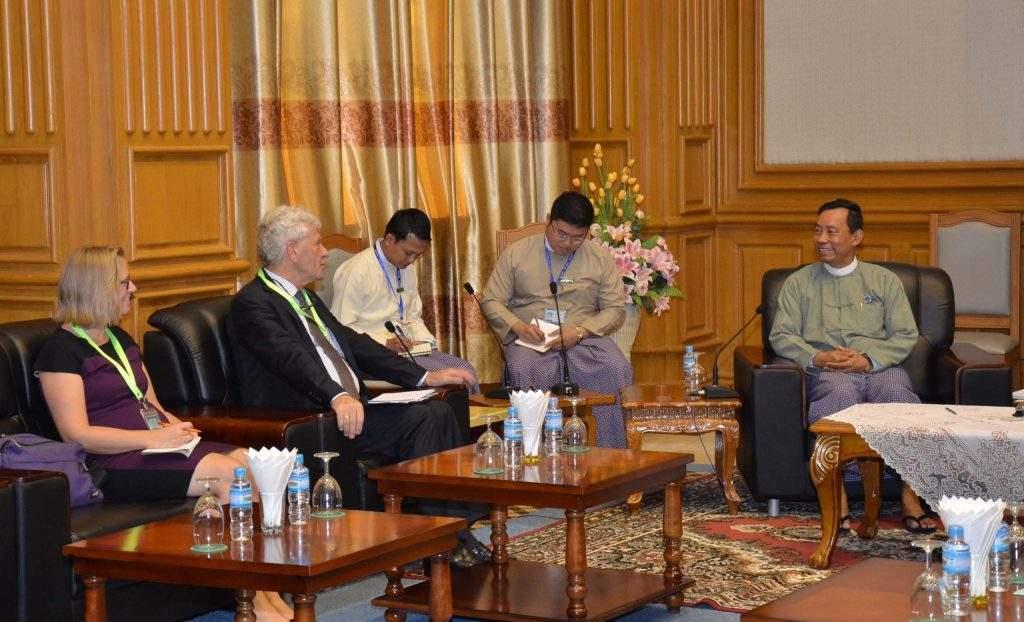 Speaker of Pyidaungsu Hluttaw and Pyithu Hluttaw Thura U Shwe Mann receives Ambassador of the Netherlands Mr Johannes Boer.