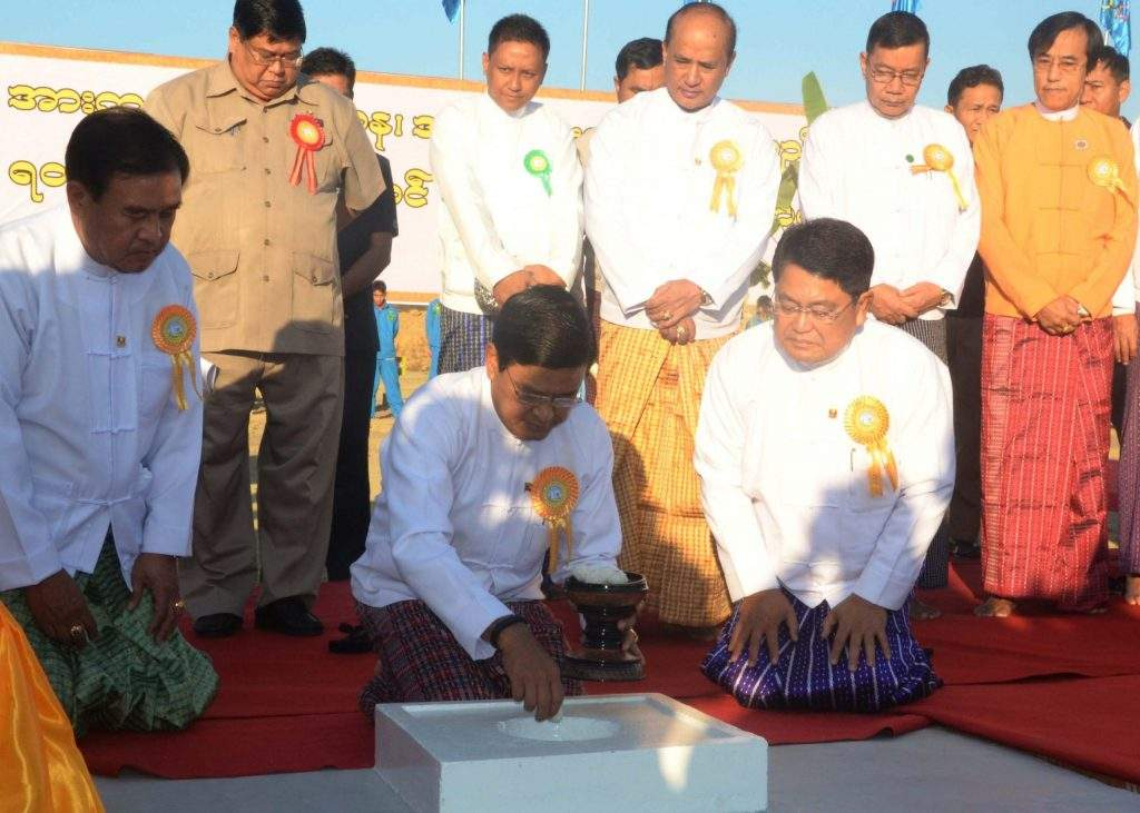 Vice  President  U Nyan Tun at stake-driving ceremony for construction of University of Sports in Nay Pyi Taw. mna
