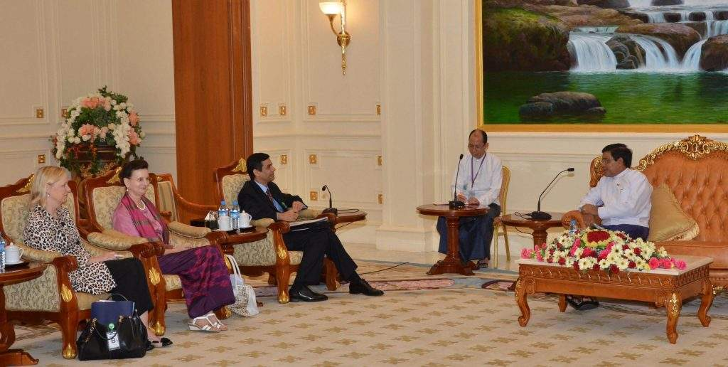 Vice President U Nyan Tun receives Mr Gyan Chandra Acharya, U.N. Under-Secretary-General and High Representative for Least Developed Countries, Landlocked Developing Countries, and Small island Developing States and party.—mna