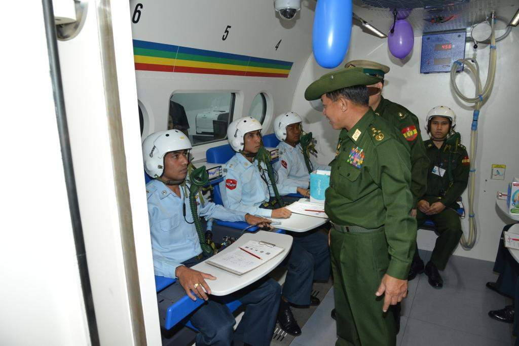 Senior General Min Aung Hlaing views demonstration of pilots at Hypobaric Chamber at the ceremony to mark 67th Anniversary of Air Force Day. Myawady