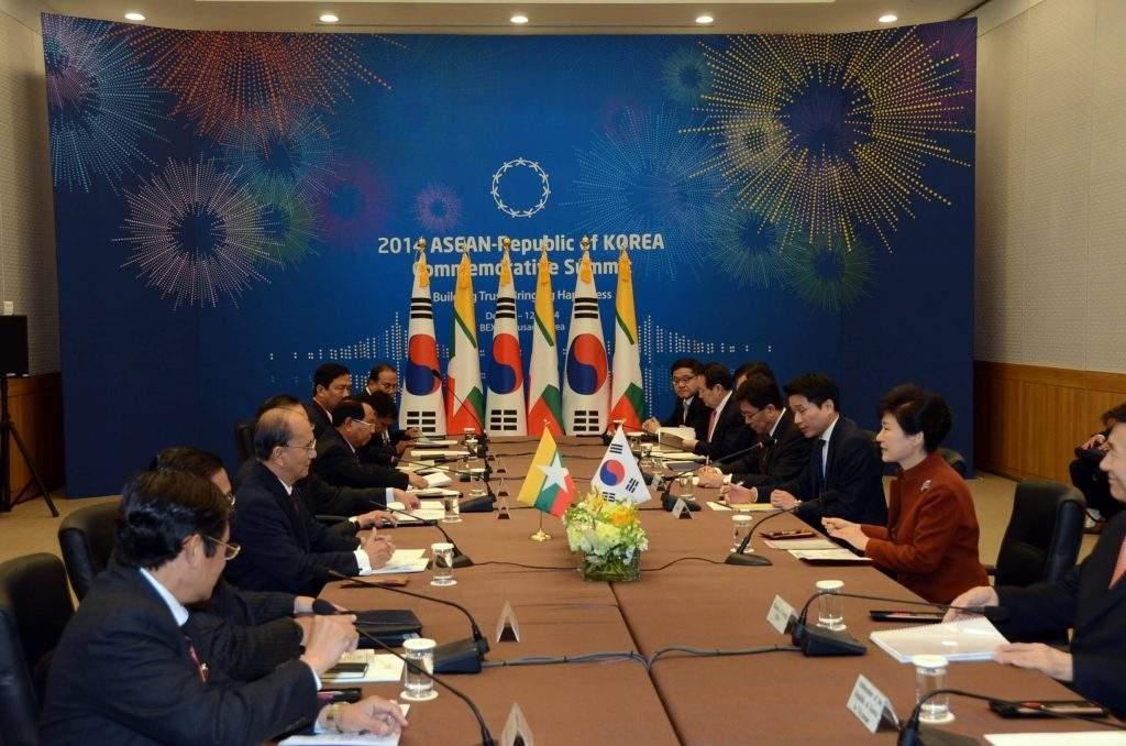 President U Thein Sein meets ROK President Park Geun-hye.—mna