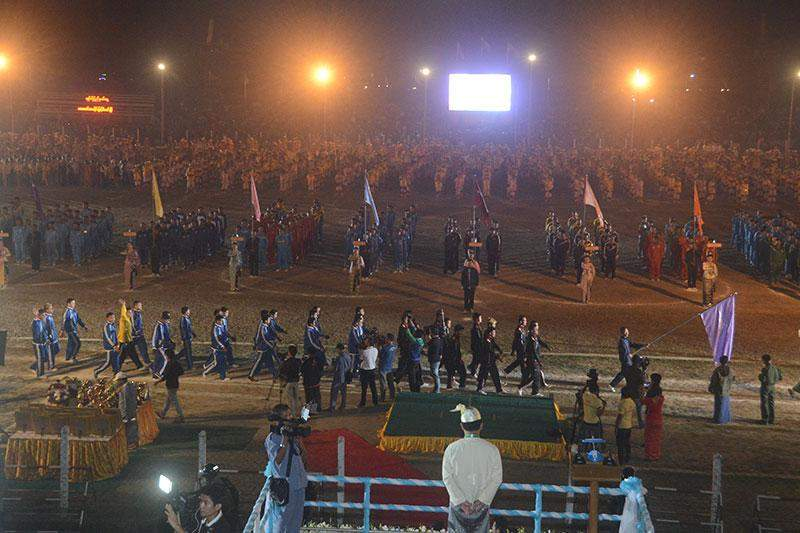 Sports and cultural troupes at the ceremony to mark 40th Anniversary of the Rakhine State Day in Waithali Sports Grounds in Sittway, Rakhine State.—mna